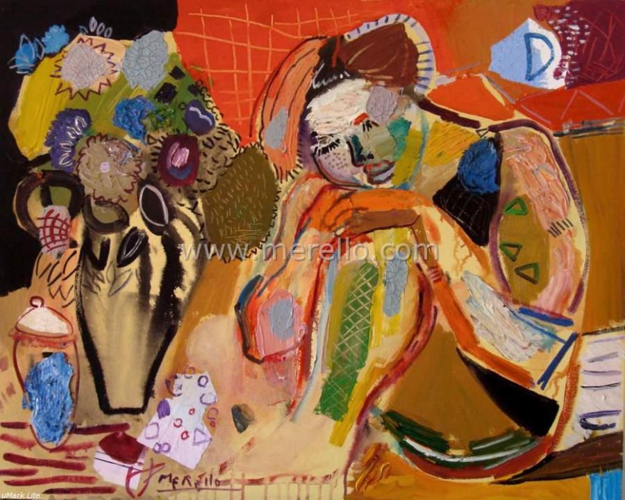 spanish_art_merello.-mujer y Florero. El Sueno (81x100 cm)mixta-lienzo